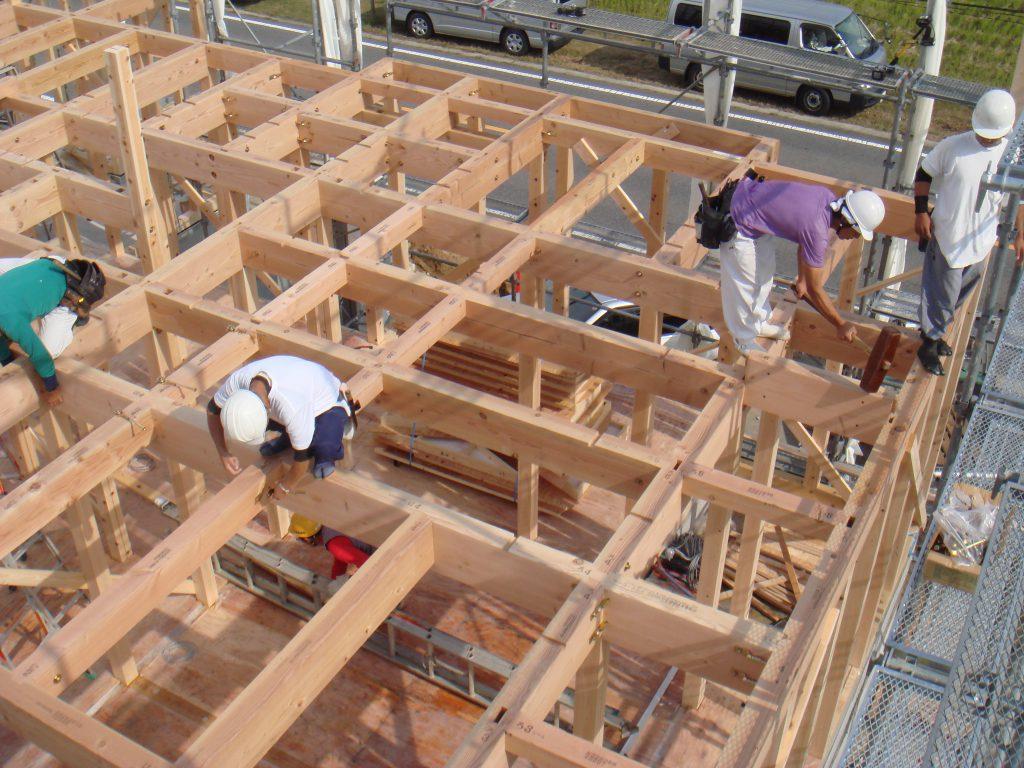 豊田市㈱都築建設の大工工事上棟梁組
