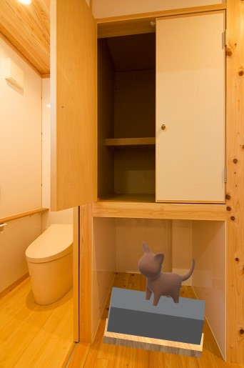 木で造る注文住宅の猫のトイレ置場