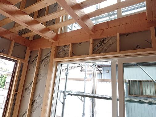 豊田市の木の家工務店都築建設の建築現場吹抜け